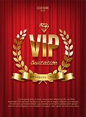 Golden VIP invitation template - type design with diamond and laurel wreath on red curtain background. Vector illustration.