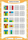 Repeat pattern. Cube grid with colorfull squares. Special for preschool kids. Worksheet for practicing fine motor skills. Improving skills tasks. Green A4. Snap game. 4x4.