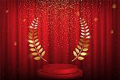 Red curtain, laurel twigs realistic illustration