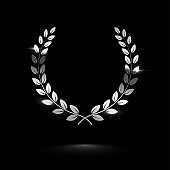 Silver shiny laurel wreath isolated on black background. Vector design element.