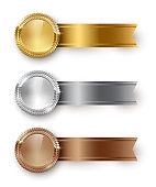 Vector gold, silver, bronze blank medals and horizontal ribbons with text space isolated on white background.