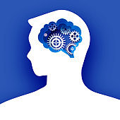 Thinking man in paper cut style. Origami Brainstorming. Brain, gears and cogs working together. Origami brain and thinking process, good idea, brain activity, insight. Blue background.