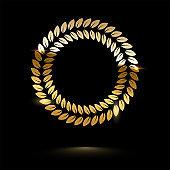 Golden round shiny laurel wreath isolated on black background. Vector design element.