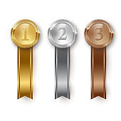 Vector gold, silver, bronze medals and vertical ribbons isolated on white background.