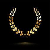 Golden shiny laurel wreath isolated on black background. Vector design element.