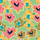 Color painting universal freehand floral seamless pattern with gold glitter. Graphic design for background, card, banner, poster, cover, invitation, fabric, header or brochure