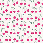 Cherry seamless pattern background. Vector illustration.