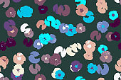 Painting universal freehand floral seamless pattern with hand drawn flowers. Graphic design for background, card, banner, poster, cover, invitation, fabric, header or brochure
