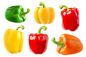 Isolated multicolored bell peppers