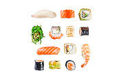 Seamless pattern with sushi
