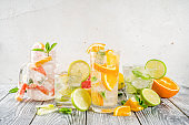 Four types of citrus lemonade or mojito