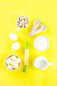 Baking ingredients on bright background