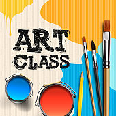 Art Class, Workshop Template Design. Kids art craft, education, creativity class concept, vector illustration.
