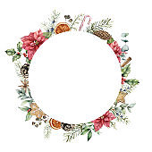 Watercolor Christmas wreath with poinsettia decor. Hand painted fir wreath with cookies, cones, holly, branches and orange slices isolated on white background. Floral illustration for design or print.