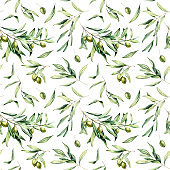 Watercolor seamless pattern with green olives, leaves. Hand painted olives and branches isolated on white background. Botanical illustration for design, print, fabric or background.
