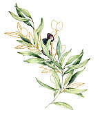 Watercolor and golden sketch card with olive, leaves and branch. Hand painted floral illustration isolated on white background for design, print, fabric or background.