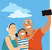Selfie with grandpa and granny