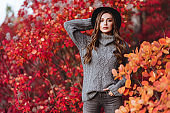 Fashion woman on a background of autumn leaves