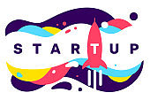 Vector creative illustration of business startup word typography with space rocket icon on color background with abstract shape.
