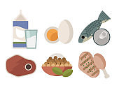 meat, chicken, tuna, eggs, milk and soy proteins food sources