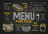 Restaurant Food Menu Design template with Chalkboard Background. Vintage chalk drawing fast food menu in vector sketch style.