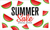 Summer sale banner, hot season discount poster with slices of watermelon. Invitation for shopping, special offer card. Vector illustration