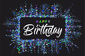 Happy Birthday typography design for greeting cards and invitation, with confetti and colorful text, elegant party design template for birthday celebration.