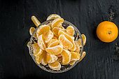 Tangerines (close-up shot) on a vintage background