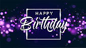 Happy birthday blue bokeh sparkle glitter luxury glamor background. Abstract defocused circular party magic birthday. Glamorous elegant shiny background for birthday design for invitation or flyer.