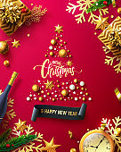 Merry Christmas & Happy New Year Promotion Poster or banner with golden gift box and christmas decoration elements.Promotion and shopping template for New Year.Vector EPS10