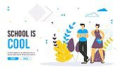 Back to school concept vector banner design with colorful funny school characters.
