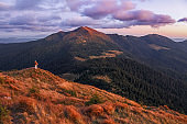 Amazing sunset. Autumn sunny day. Landscape of the mountains. The happy tourist stays on the hill. Sun rays lighten up the sky and horizon. Touristic place Carpathian, Ukraine Europe.