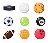 Sport balls on white background. Vector illustration tournament win round basket soccer equipment. Recreation leather group traditional different sportballs washer, flyhook.