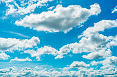 Beautiful blue sky and white cumulus clouds abstract background. Cloudscape background. Blue sky and fluffy white clouds on sunny day. Nature weather. Bright day sky for happy day background.