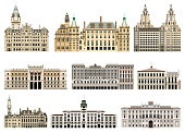 vector collection of abstract isolated city halls, palaces, edifices and other city skyline architectural elements