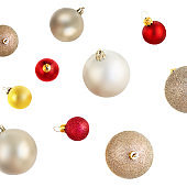 Christmas balls Pattern. Collection of Xmas baubles  isolated on white background. Top view
