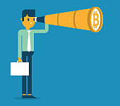 Businessman, Telescope and Bitcoin
