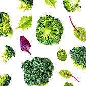 Broccoli Vegetable Pattern. Summer  abstract background. Broccoli isolated on the white background,