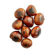 Chestnut Isolated. Roasted sweet chestnuts for Christmas on white background. Food concept. Top view. Flat lay