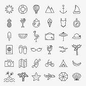 Summer Travel Line Icons Set