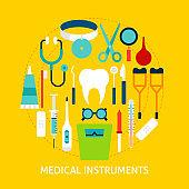 Medical Instruments Flat Concept