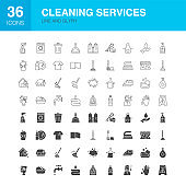 Cleaning Services Line Web Glyph Icons