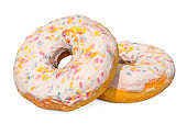 Donuts with decorative sprinkles, 3D rendering isolated on white background