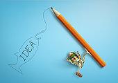 Idea creative concept, pencil as fishing rod
