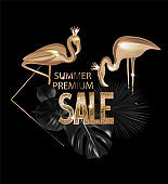 Premium sale banner with tropical objects. Gold and black. Vector illustration
