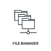 File Manager icon. Thin outline style design from web hosting icons collection. Creative File Manager icon for web design, apps, software, print usage