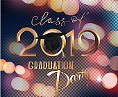 Graduation party 2019 invitation card with bokeh background and golden letters. Vector illustration