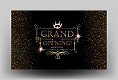 Grand Opening card with golden dust and vintage golden frame. Vector illustration