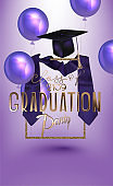 Graduation party invitation card with air balloons and objects. Vector illustration