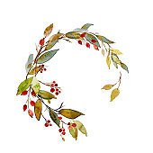 Hand drawn watercolor illustration. Autumn Wreath. Fall leaves and berries